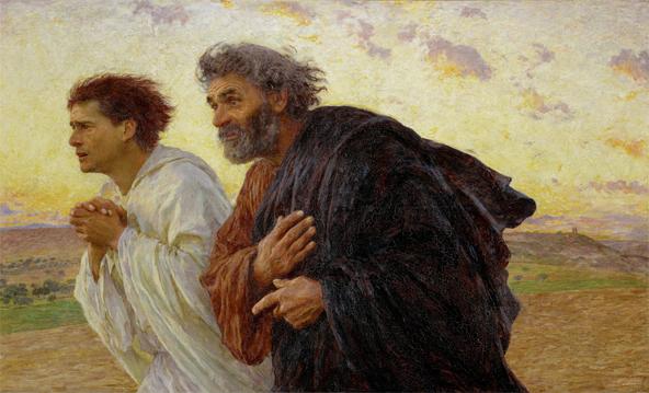 Eugène Burnand, Les disciples Pierre et Jean courant au Sépulcre le matin de la Résurrection